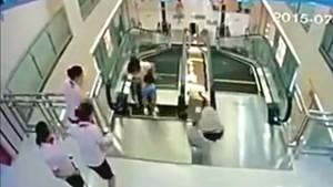 escalator swallows woman